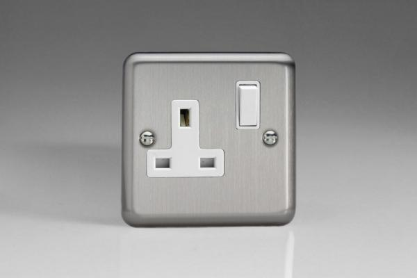 XS4W Varilight 1 Gang 13 Amp Switched Socket, Classic Brushed Steel