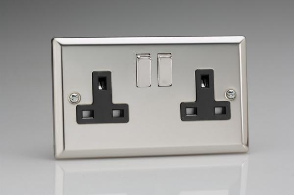 XC5DB Varilight 2 Gang (Double), 13 Amp Switched Socket, Classic Polished Chrome (also known as Classic Mirror Chrome)