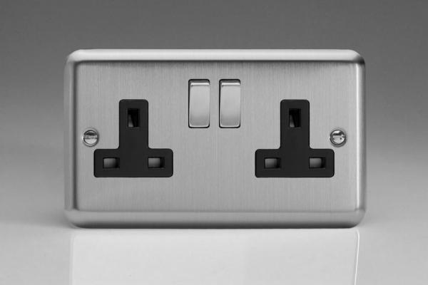 XS5DB Varilight 2 Gang 13 Amp Switched Socket, Classic Brushed Steel