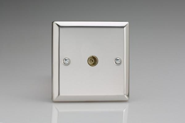 XC8 Varilight 1 Gang (Single), Co-axial TV Socket, Classic Polished Chrome (also known as Classic Mirror Chrome)