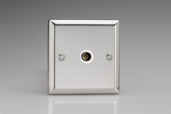XC8ISOW Varilight 1 Gang (Single), Isolated Co-axial TV Socket, Classic Polished Chrome (also known as Classic Mirror Chrome)