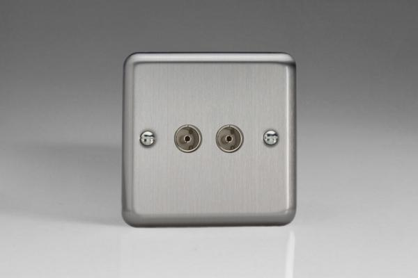 XS88 Varilight 2 Gang Co-axial TV Socket, Classic Brushed Steel