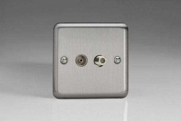 XS88S Varilight 2 Gang Co-axial TV and Satellite Socket, Classic Brushed Steel