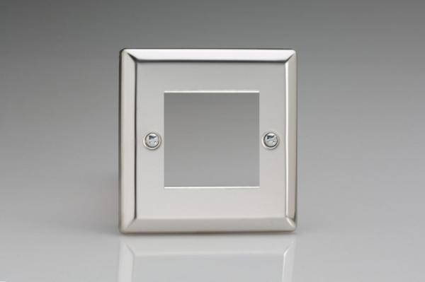 XCG2 Varilight Single Size Data Grid Face Plate For 2 Data Modules, Classic Polished Chrome (also known as Classic Mirror Chrome)