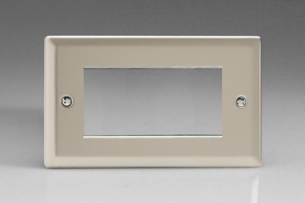 XNG4 Varilight Double Size Data Grid Face Plate For 3 or 4 Data Modules, Classic Satin Chrome (Double Plate)