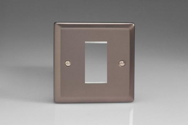 Varilight 1 Gang Data Grid Face Plate For 1 Data Module Width Classic Pewter