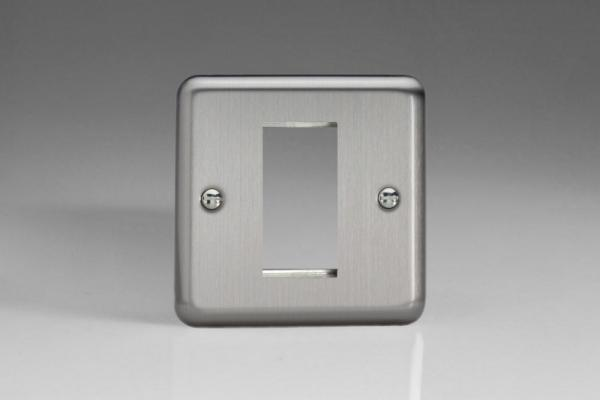 XSG1 Varilight Data Grid Face Plate For 1 Data Module Width, Classic Brushed Steel