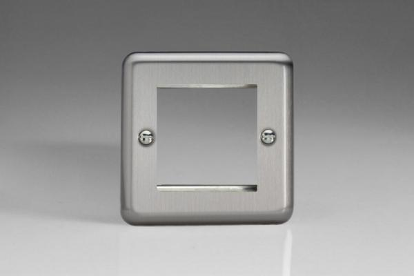 XSG2 Varilight Data Grid Face Plate For 2 Data Modules, Classic Brushed Steel