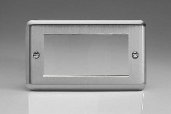 XSG4 Varilight Data Grid Face Plate For 3 or 4 Data Modules, Classic Brushed Steel