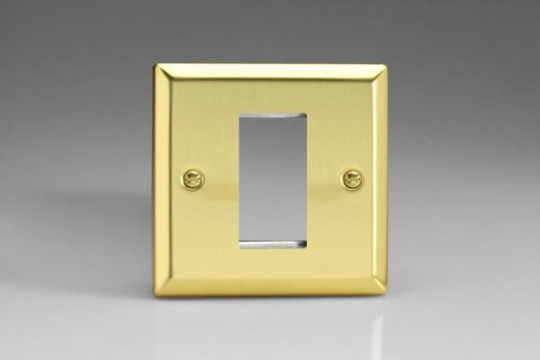 XVG1 Varilight Single Size Data Grid Face Plate For 1 Data Module Width, Classic Victorian Polished Brass Effect