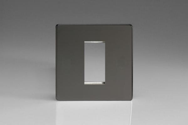 XDIG1S Varilight Single Size Data Grid Face Plate For 1 Data Module Width, Dimension Screwless iridium Black