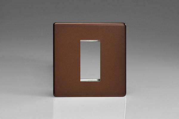 XDMG1S Varilight Single Size Data Grid Face Plate For 1 Data Module Width, Dimension Screwless Mocha