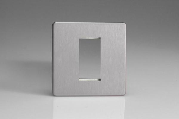 XDSG1S Varilight Single Size Data Grid Face Plate For 1 Data Module Width, Dimension Screwless Brushed Steel