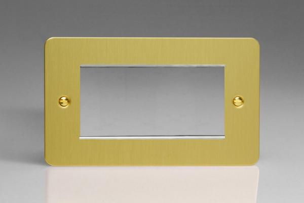 XFBG4 Varilight Double Size Data Grid Face Plate For 3 or 4 Data Modules, Ultra Flat Brushed Brass Effect (Double Plate)