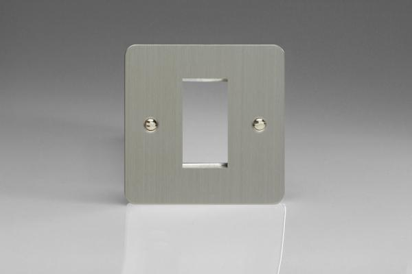 XFSG1 Varilight Single Size Data Grid Face Plate For 1 Data Module Width, Ultra Flat Brushed Steel