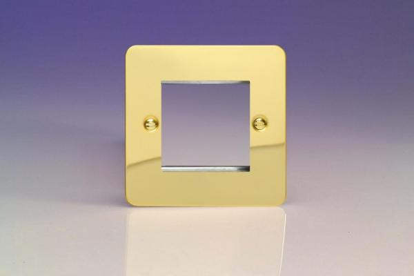 XFVG2 Varilight Single Size Data Grid Face Plate For 2 Data Modules, Ultra Flat Polished Brass Effect