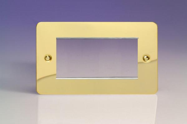 XFVG4 Varilight Double Size Data Grid Face Plate For 3 or 4 Data Modules, Ultra Flat Polished Brass Effect (Double Plate)
