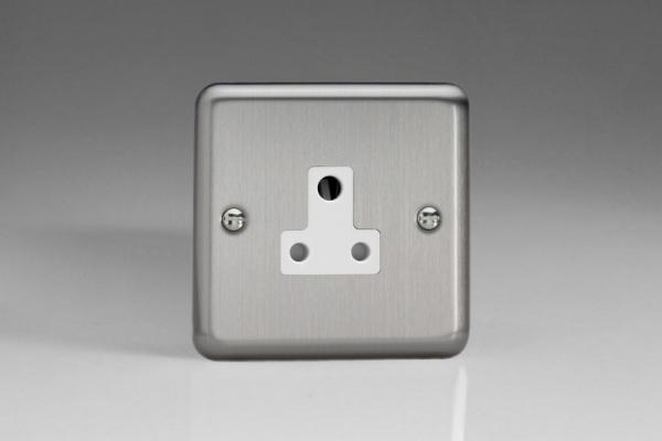 XSRP5AW Varilight 1 Gang, 5 Amp Round Pin Socket, Classic Brushed Steel
