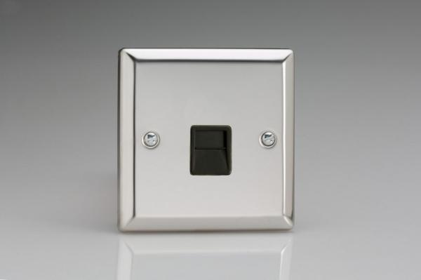 XCTSB Varilight 1 Gang (Single), Telephone Slave Socket, Classic Polished Chrome (also known as Classic Mirror Chrome)