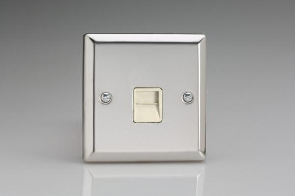 XCTSW Varilight 1 Gang (Single), Telephone Slave Socket, Classic Polished Chrome (also known as Classic Mirror Chrome)