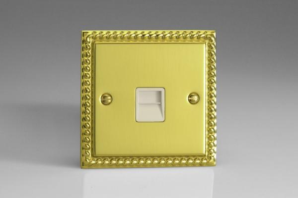 XGTSW Varilight 1 Gang (Single), Telephone Slave Socket, Classic Georgian Polished Brass Effect