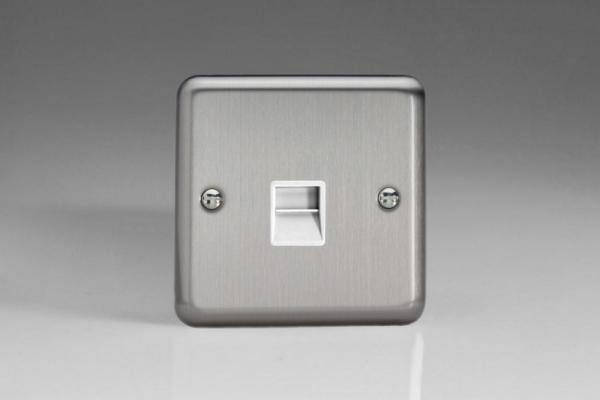 XSTMW Varilight 1 Gang, Telephone Master Socket, Classic Brushed Steel