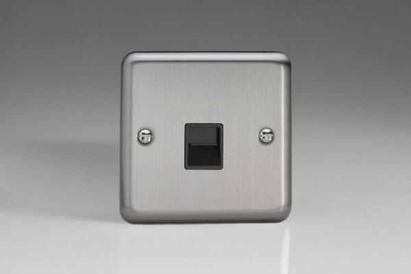 Varilight 1 Gang Black Telephone Slave Socket Classic Brushed Steel