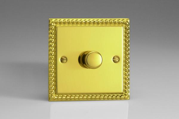 IGP501 Varilight V-Plus 1 Gang, 1 or 2 Way 500 Watt/VA Dimmer, Classic Georgian Polished Brass Effect
