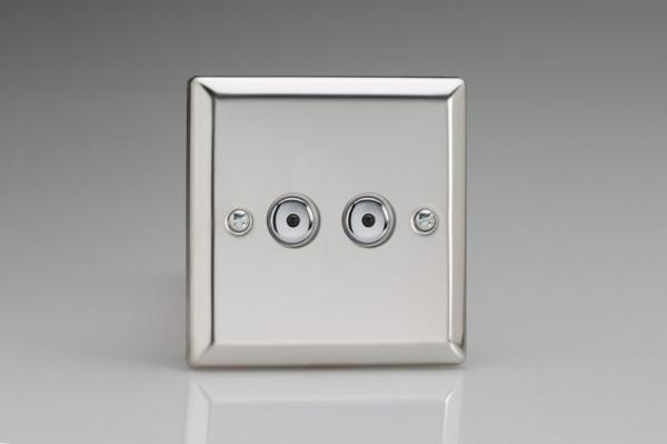 ICI252M-CL Varilight 2 Gang, 1 or 2 Way or Multi-way 2x250 Watt Touch/Remote Master Dimmer, Classic Polished Chrome