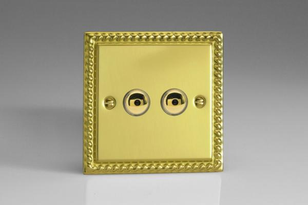 IGI402M Varilight 2 Gang, 1 or 2 Way or Multi-way 2x400 Watt Touch/Remote Master Dimmer, Classic Georgian Polished Brass Effect