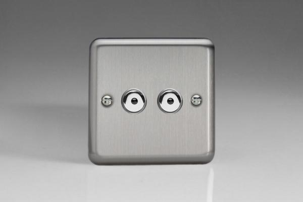 ISI402M Varilight 2 Gang, 1 or 2 Way or Multi-way 2x400 Watt Touch/Remote Master Dimmer, Classic Brushed Steel