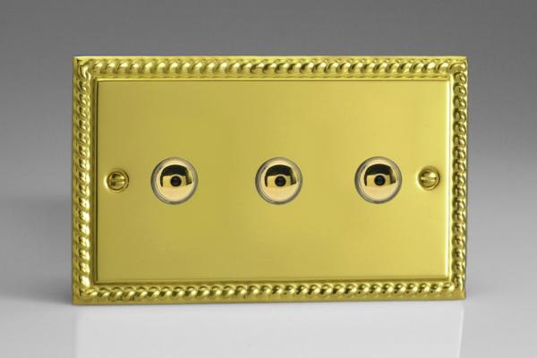 IGI403M Varilight 3 Gang, 1 or 2 Way or Multi-way 3x400 Watt Touch/Remote Master Dimmer, Classic Georgian Polished Brass Effect