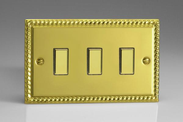 JGES003 - Varilight V-Pro Series Eclique2  (Multi Point Remote), 3 Gang Tactile Touch Button Slave Unit for 2 way or Multi-way Circuits Only, Classic Georgian Polished Brass Effect