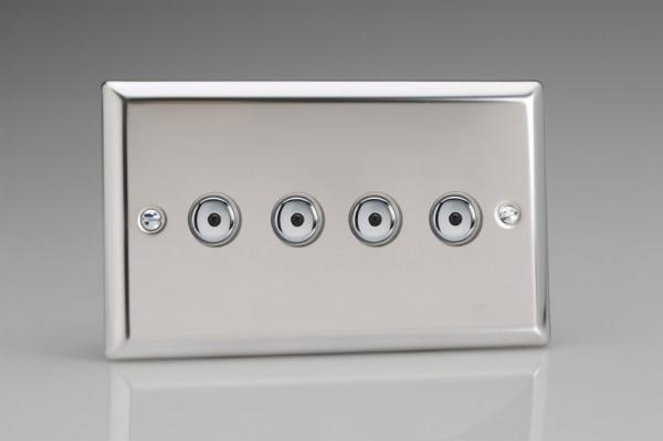 ICI254M Varilight 4 Gang, 1 or 2 Way or Multi-way 4x250 Watt Touch/Remote Master Dimmer, Classic Polished Chrome