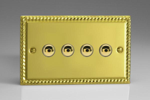 IGI254M-CL Varilight 4 Gang, 1 or 2 Way or Multi-way 4x250 Watt Touch/Remote Master Dimmer, Classic Georgian Polished Brass Effect