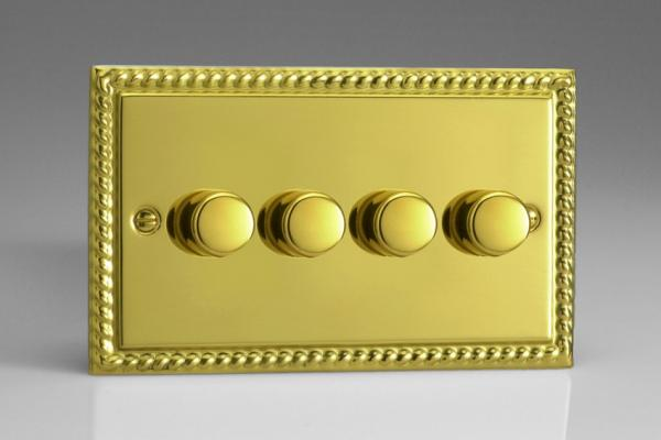 Varilight V-Pro Series 4 Gang 0-120W Trailing Edge LED Dimmer Georgian Brass