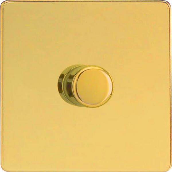 TEVP401S Varilight European V-Dim Series 1 Gang (Single), 1 or 2 Way 400 Watt Thermal Safety Dimmer, Dimension Screwless Polished Brass Effect