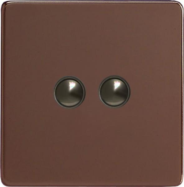 XEMP2S Varilight European 2 Gang (Double) 1 or 2 way 6 Amp Push-on Push-off Switch (impulse), Dimension Screwless Mocha