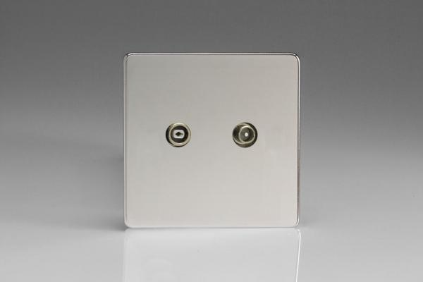 Varilight Euro Fixed Range 2 Gang RTV Termination Socket for Analogue and Digital RTV Installations European Screwless Polished Chrome