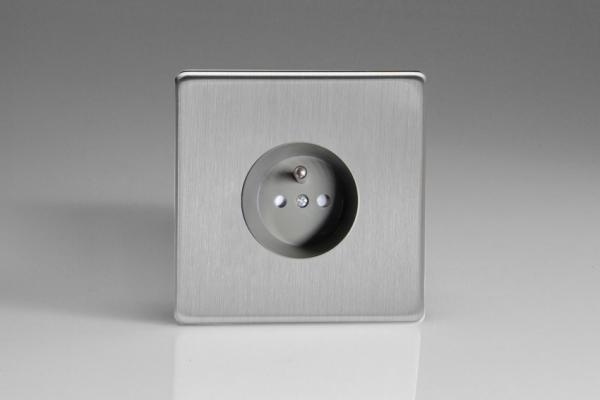 XES4S (XES4FG) Varilight European 1 Gang (Single), Euro (Pin Earth) Flush Design Socket, Dimension Screwless Brushed Steel