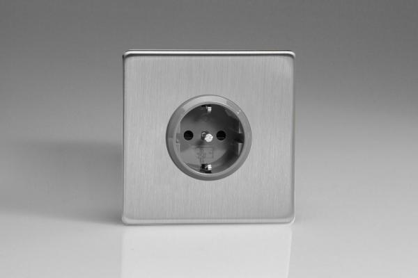XES5S Varilight European 1 Gang (Single), Schuko Protruding Design Socket, Dimension Screwless Brushed Steel