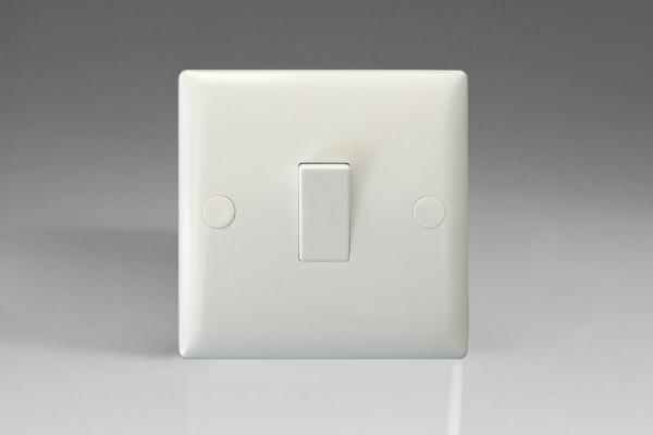 XO1W-P Varilight 1 Gang (Single), 1 or 2 Way 10 Amp Switch, White Moulded Bevel