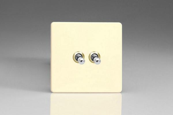 XDWT2S Varilight 2 Gang (Double), 1 or 2 Way 10 Amp Classic Toggle Switch, Dimension Screwless White Chocolate