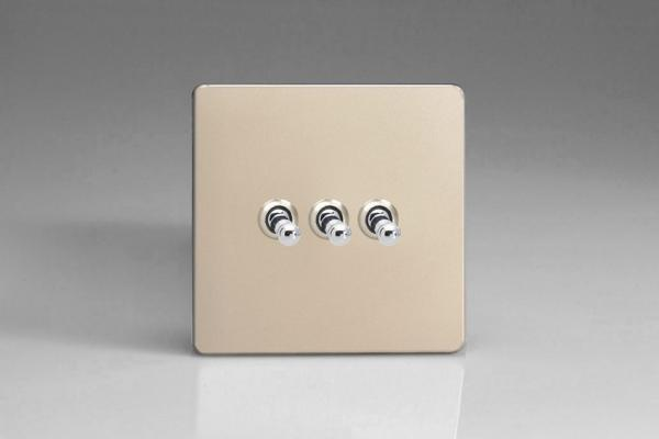 XDNT3S Varilight 3 Gang (Triple), 1 or 2 Way 10 Amp Classic Toggle Switch, Dimension Screwless Satin Chrome