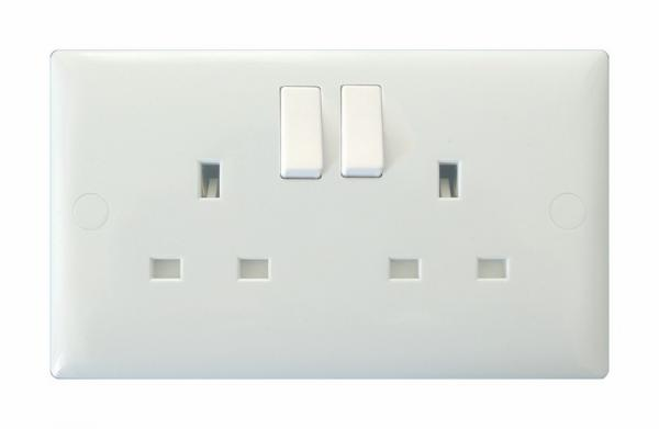 XO5W-P Varilight 2 Gang (Double), 13 Amp Double Pole Switched Socket, White Moulded Bevel