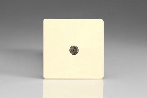 Varilight 1 Gang Co-axial TV Socket Screwless White Chocolate