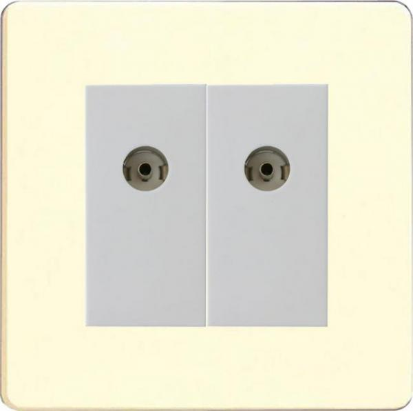 XDWG88WS Varilight 2 Gang (Double), Co-axial TV Socket, Dimension Screwless White Chocolate