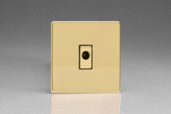 XDVFODS Varilight Flex Outlet Plate with Cable Clamp, Polished Brass Effect insert, Dimension Screwless Polished Brass Effect