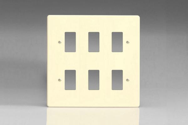 Varilight 6 Gang Power Grid Faceplate Including  Power Grid Frames Dimension White Chocolate