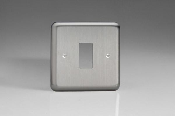 XSPG1-P+ Varilight 1 Gang Classic Brushed Steel Faceplate including 1 Gang Power Grid Frame